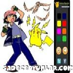Pikachu ve Ash Boyama